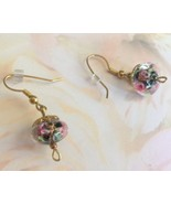 Clear Floral Rose Lampwork Dangle Earrings, Borosilicate, Vintage, Drop ... - $19.95