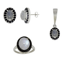 925 Silver Rainbow Moonstone and Black Spinel Jewelry Pendant Set Ring S... - $57.02