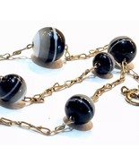 ANTIQUE VICTORIAN BANDED AGATE PASTE ORBs Balls 9K GOLD NECKLACE - $781.85