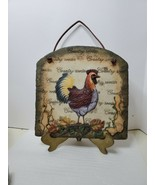 Country Rooster 3D Plaster Wall Plaque With Leather Hanging Strap - $24.75