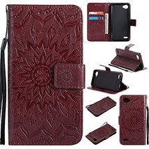 XYX Wallet Case for LG Q6, Sunflower PU Leather Phone Wallet Case for LG... - $9.88