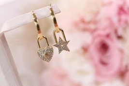 AUTH Christian Dior 2019 LUCKY LOCKET CD CRYSTAL LOGO HEART DANGLE STAR Earrings image 4
