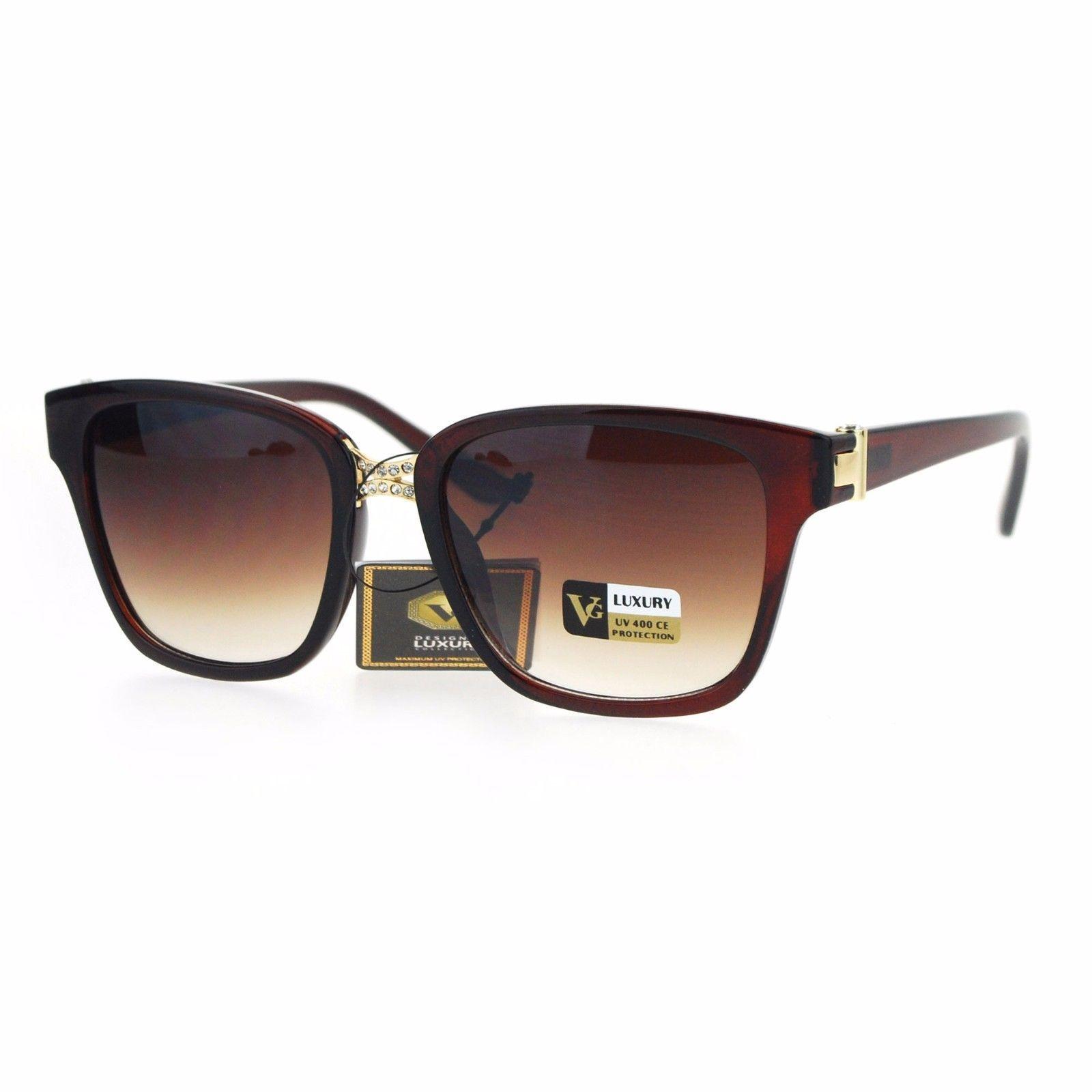 Womens Square Frame Sunglasses Designer Style Rhinestone Bridge UV 400