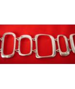 Vintage Signed FOSSIL Wide Link Bracelet - Silver Tone Open Cut Rectangles - $12.60