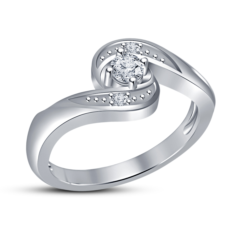 Primary image for High Quality Cubic Zirconia Engagement Ring White Gold Filled Jewelry Fashion