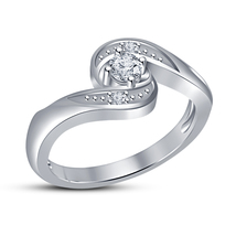 High Quality Cubic Zirconia Engagement Ring White Gold Filled Jewelry Fashion  - $5.26