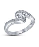 High Quality Cubic Zirconia Engagement Ring White Gold Filled Jewelry Fa... - $5.26