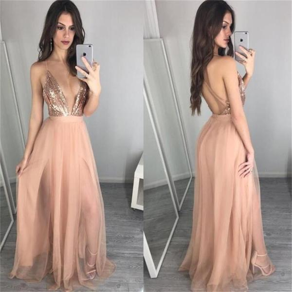 Deep v neck sequin sexy long popular prom dress  party dress  pd0312