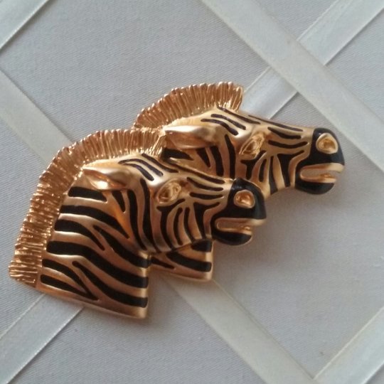 Primary image for Vintage Gold Tone Black Enamel Striped Two Head Zebra Fashion Brooch