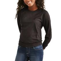 Women's Crewneck Faux Suede Leather Pullover Sweatshirt Top Size Large t... - $9.45