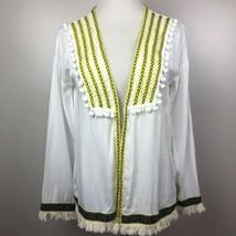 Embroidered Boho Cardigan XS White Pom Pom Fringe Open Front Jacket Topp... - $17.34