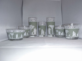 Wedgwood Green Vintage Hellenic Jeanette Glass Grecian Lot Neo-Classical... - $18.69