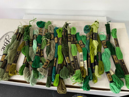 Lot of (45) Green Shades Vintage DMC Embroidery Craft Thread Skeins 100% Cotton - $29.65