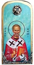 Wooden Greek Christian Orthodox Wood Icon of Saint Nikolaos Nicolas / OP10 - $24.26