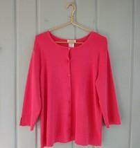 Talbots Womens Plus 1X 14W 16W Bright Pink Cardigan Sweater Career Work ... - $29.02