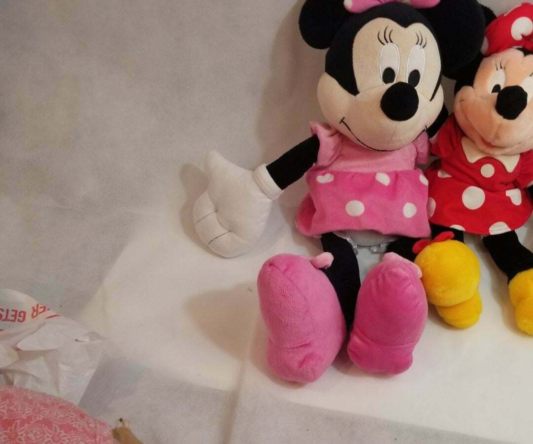 "Disney Minnie Mouse Pink Polka Dot Plush Soft Stuffed Toy Doll 24"" + dou 17"""
