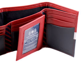 Tommy Hilfiger Men's Premium Leather Trifold Wallet Rfid Red Navy 31TL110022 image 7