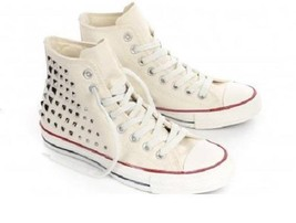 Chuck Taylor EGRET Square Metal Studs Converse Ankle Hi Collar Shoes Wm 8.5 DISC - $79.99