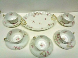 Haviland limoges France GDA ROSE 5 Cups & Saucers & Serving Tray Pink C.H. FIELD - $29.99