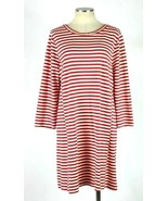 J.Crew Red White Candy Cane Stripe Tunic Dress Knee Length Shift 3/4 Sle... - $24.74