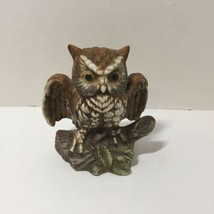 Vintage Price Products Taiwan Porcelain Great Horned Owl on Stump Figuri... - $12.59