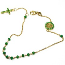 18K YELLOW GOLD ROSARY BRACELET, FACETED EMERALD ROOT, CROSS, MIRACULOUS MEDAL image 2