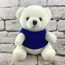 """7.5"""" Polar Bear Plush Teddy Sitting In Blue T-Shirt Stuffed Animal Soft Toy  - $9.89"""