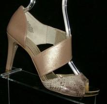 Anne Klein iflex 'Opted' taupe leather snake print peep toe slip on heels 8M - $30.50