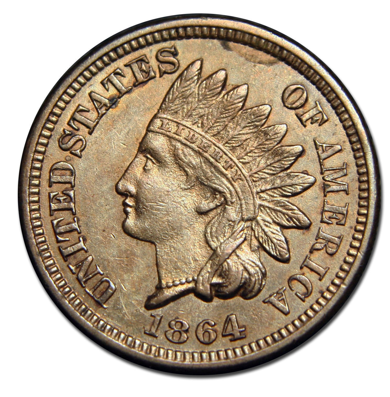 1864 Copper Nickel Indian Head Penny / Cent Coin Lot# A 1463