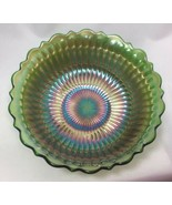 "Northwood Carnival Glass Green Smooth Ray Bowl 7.5"" Scalloped Edge - $27.72"