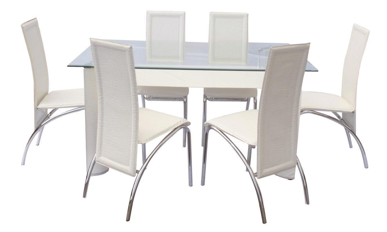 metal dining room sets | MYCO Furniture Dundee Modern Glass Top White Finish Metal ...