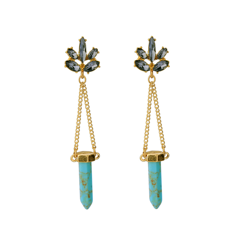 Arrival Blue Earrings For Women Accessories Antique Gold Color Chain Earrings