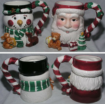 Set of 2 Mugs Christmas Santa Snowman Large Tis the Season Ceramic Porce... - $23.99