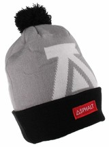 Asphalt Yacht Club Mens Gray Black Big A Cuff Fold Skate Beanie Winter Hat NWT