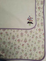 Gymboree Baby Blanket White Lavender Bouquet w/ Bow Reversible Embroider... - $29.65