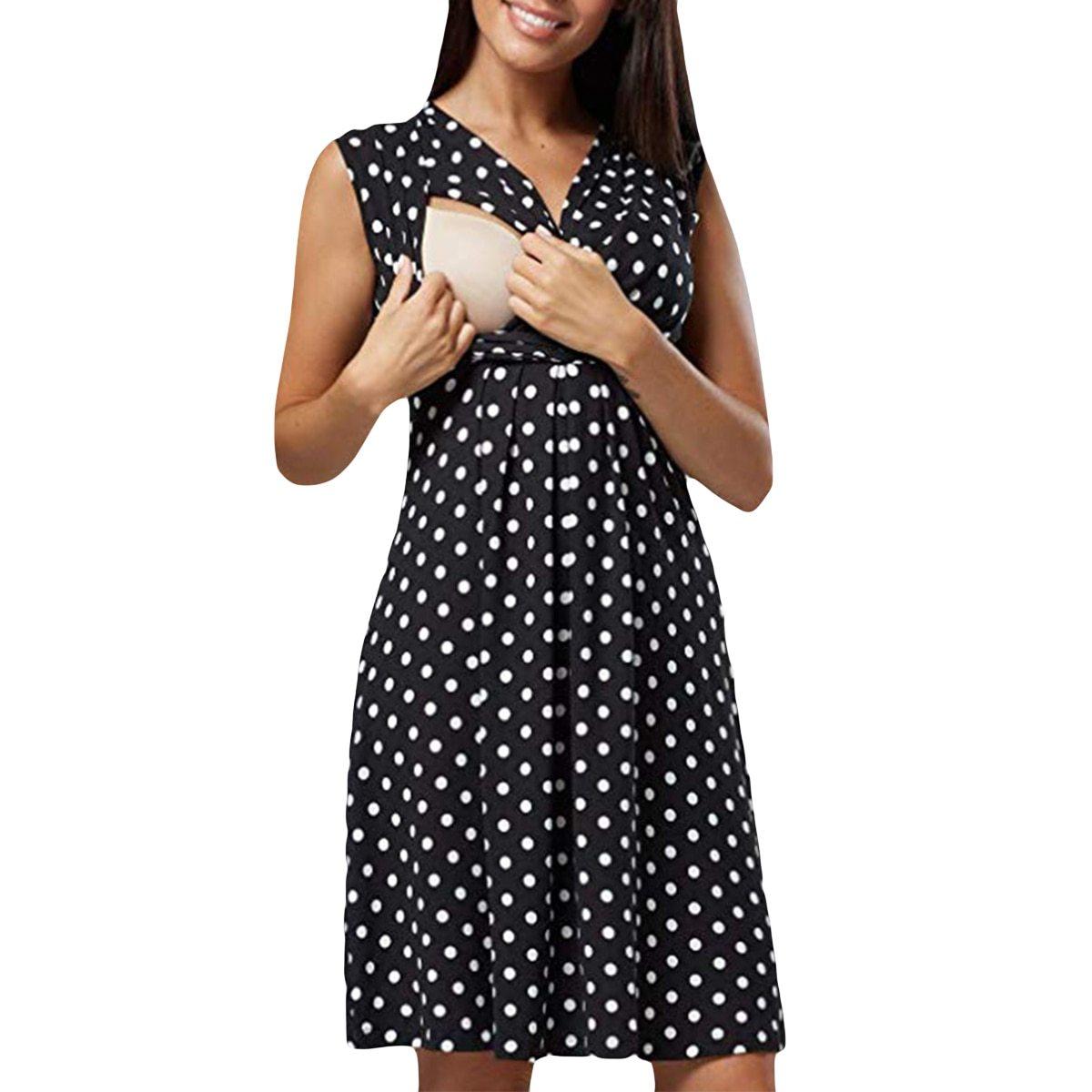 Maternity's Dress V Neck Dotted Print Sleeveless Fashion Dress