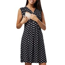 Maternity's Dress V Neck Dotted Print Sleeveless Fashion Dress - $27.99