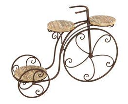 Tricycle Three Shelf Bicycle Plant Stand Garden Yard Wood Metal Planter... - $99.99
