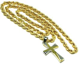 18K YELLOW GOLD BIG 5 MM ROPE CHAIN, 24 INCHES & STYLIZED SQUARE TWO TONE CROSS image 3