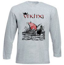 Viking Ship - New Cotton Grey Tshirt - $20.84