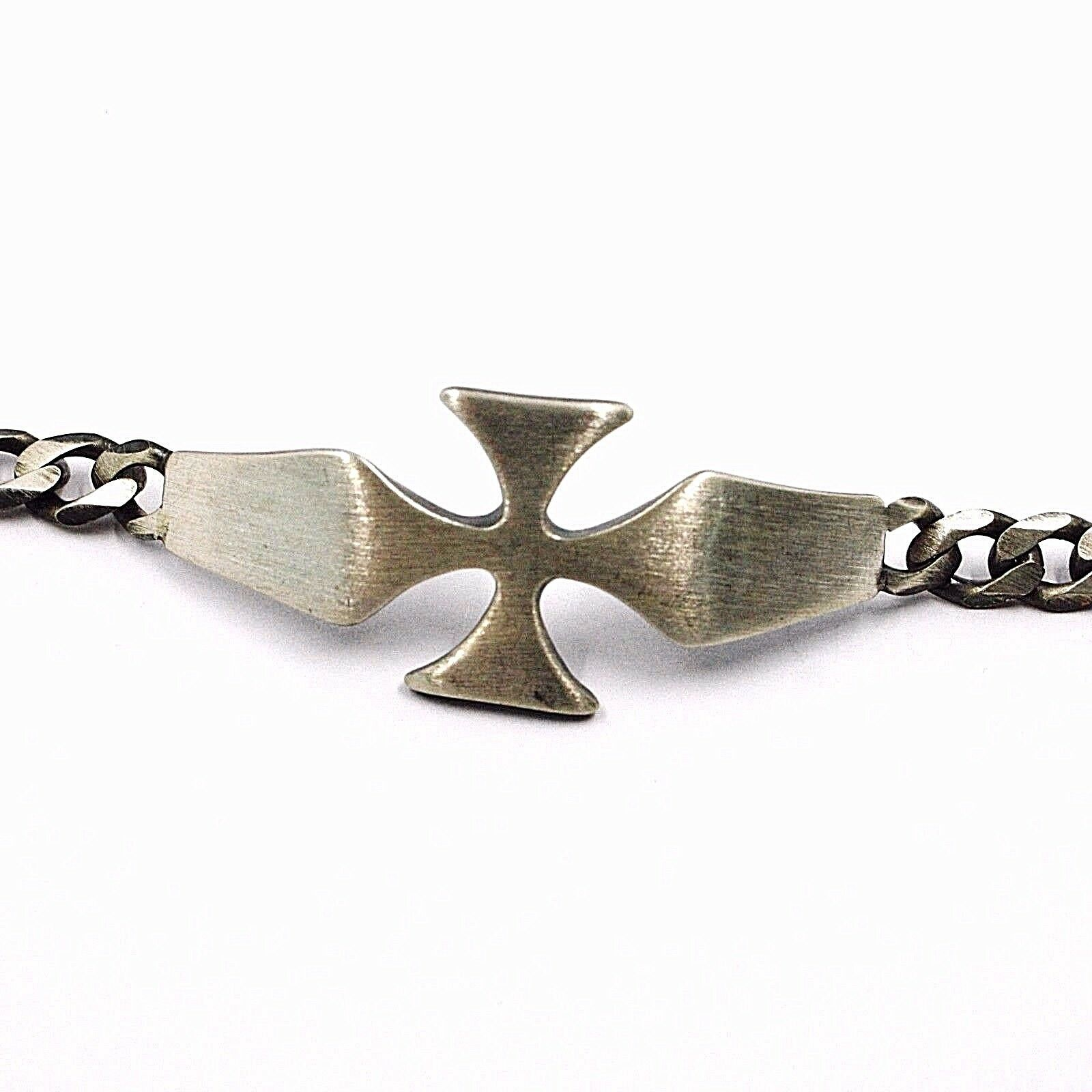 Silver Bracelet 925, Burnished and Satin, cross Central and Grumetta