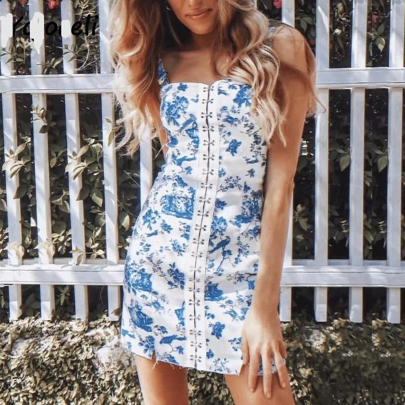Li cool buckles detail print dress women party club sundress blue floral print mini dress female