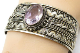 BALI 925 Silver - Vintage Amethyst Ball Bead Twist Detail Cuff Bracelet ... - $112.29