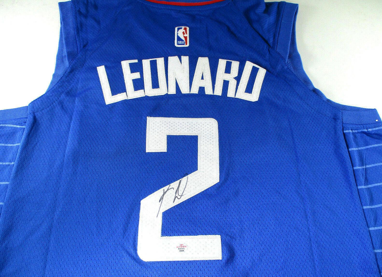 KAWHI LEONARD / NBA MVP / AUTOGRAPHED L.A. CLIPPERS PRO STYLE BLUE JERSEY / COA