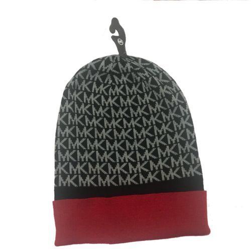 e02e067aa02 Michael Kors Winter Beanie Hat NWT MK Logo New  42 Cute Black Red Grey Fold  Over
