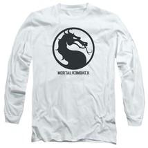 Mortal Combat X logo symbol graphic long sleeve white adult t-shirt WBM416 image 1