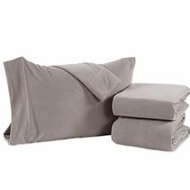 Berkshire Blanket Original Microfleece Set Fleece Sheets, Queen, Silver ... - $49.82