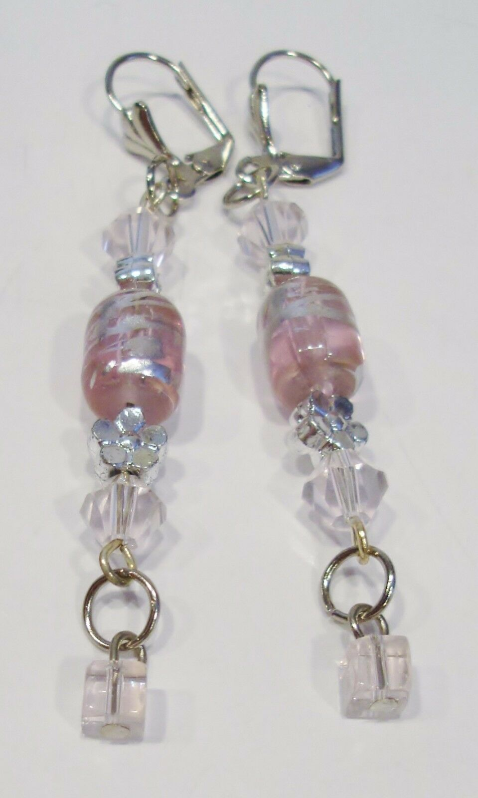 handmade pink and silver bead and crystal dangle earrings