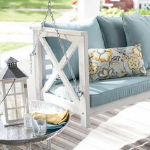 Country Farmhouse Shabby Chic White Wood Porch Swing Cushioned Outdoor Patio  image 6