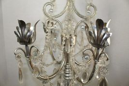 Dining Table Top Centerpiece Candle Holder Silver Chandelier Glass Tear Drops image 5